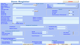 Screenshot of Item Register form.